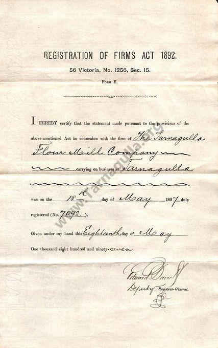 Registration of The Tarnagulla Flour Mill Company dated