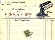 Brown of Arnold Invoice, 1958